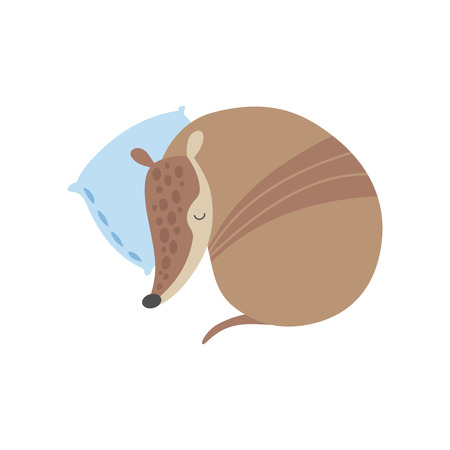 Cute Armadillo Sleeping on Pillow, Adorable Pleistocene Animal Cartoon Character Vector Illustration on White Background. Illusztráció
