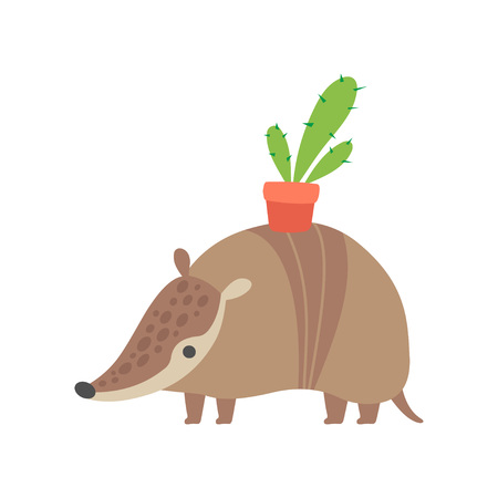 Cute Armadillo Carrying Flower Pot on its Back, Adorable Pleistocene Animal Cartoon Character Vector Illustration on White Background.