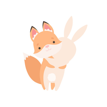 Lovely White Little Bunny and Fox Cub Hugging, Cute Best Friends, Adorable Rabbit and Pup Cartoon Characters Vector Illustration on White Background.