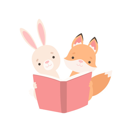 Lovely White Little Bunny and Fox Cub Reading Book, Cute Best Friends, Adorable Rabbit and Pup Cartoon Characters Vector Illustration on White Background.