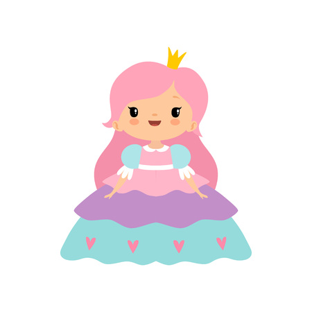 Cute Little Fairytale Princess Girl with Pink Hair and Golden Crown Cartoon Vector Illustration on White Background.