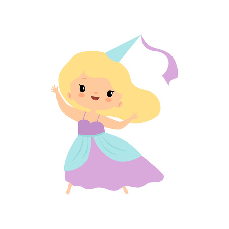 Cute Blonde Little Fairytale Princess Girl Cartoon Vector Illustration Banque d'images - 122807868