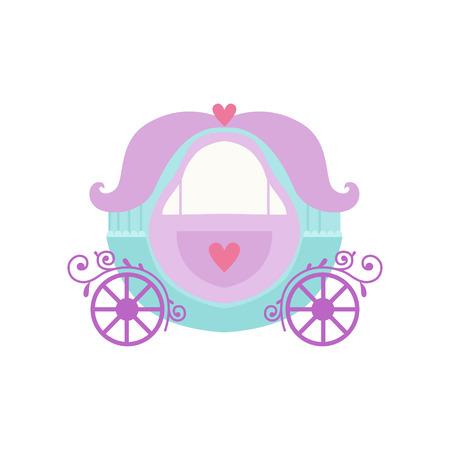 Cute Princess Fairytale Fantasy Carriage Cartoon Vector Illustration on White Background. 向量圖像