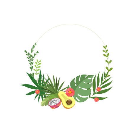 Tropical Leaves Elegant Frame with Flowers Place for Your Text, Banner, Poster, Wedding Invitation, Summer Greeting Card Design Element Vector Illustration on White Background.