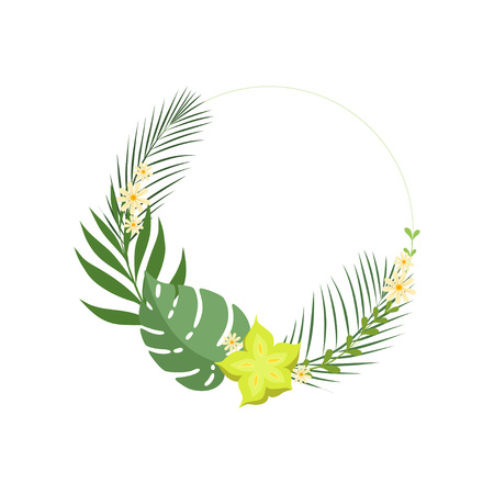 Trendy Summer Tropical Leaves Elegant Frame with Place for Your Text, Banner, Poster, Wedding Invitation, Greeting Card Design Element Vector Illustration on White Background. Ilustração