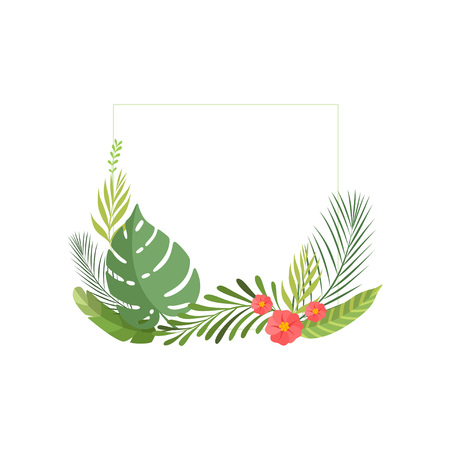 Summer Tropical Leaves and Flowers, Banner, Poster, Wedding Invitation, Summer Greeting Card Design Element Vector Illustration on White Background.