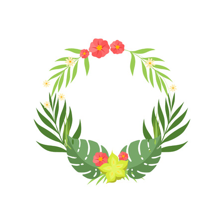 Trendy Tropical Leaves and Flowers Elegant Frame with Place for Your Text, Banner, Poster, Wedding Invitation, Summer Greeting Card Design Element Vector Illustration on White Background.