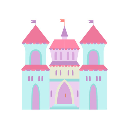 Cute Castle, Fairytale Medieval Fortress, Colorful Fantasy Kingdom Cartoon Vector Illustration