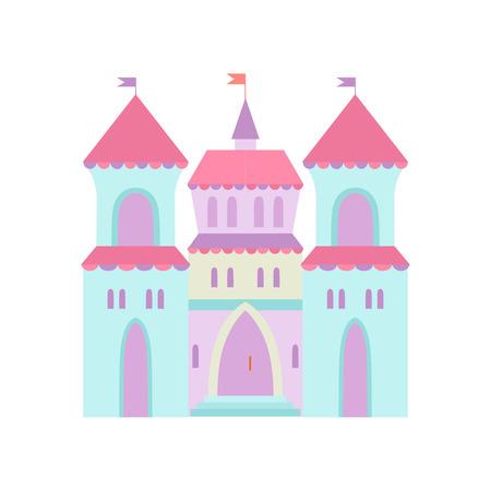 Cute Castle, Fairytale Medieval Fortress, Colorful Fantasy Kingdom Cartoon Vector Illustration