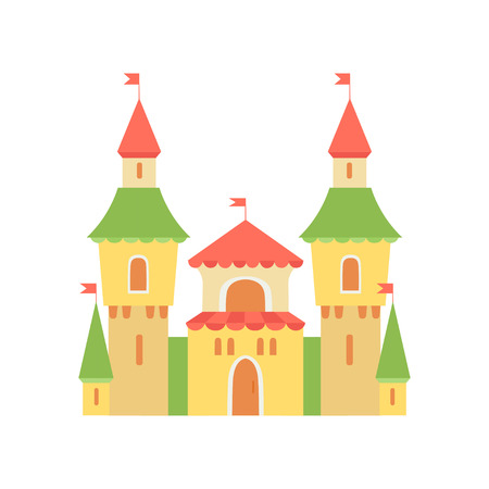 Cute Princess Castle, Fairytale Medieval Fortress, Colorful Fantasy Kingdom Cartoon Vector Illustration