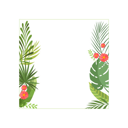 Tropical Leaves and Flowers Elegant Frame with Space for Text, Banner, Poster, Wedding Invitation, Summer Greeting Card Design Element Vector Illustration on White Background.