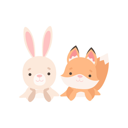 Lovely Little Bunny and Fox Cub Best Friends, Adorable Rabbit and Pup Cartoon Characters Vector Illustration on White Background.