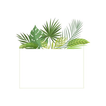 Tropical Rainforest Foliage Border, Poster, Wedding Invitation, Summer Greeting Card Design Element Vector Illustration on White Background.