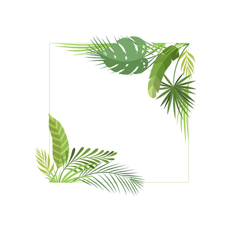 Tropical Foliage Border with Space for Your Text, Banner, Poster, Wedding Invitation, Summer Greeting Card Design Element Vector Illustration on White Background.