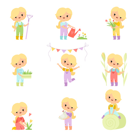 Cute Young Girl in Overalls and Rubber Boots Engaged in Agricultural Activities Set, Farmer Girl Cartoon Character Caring for Plants and Harvesting Vector Illustration on White Background.