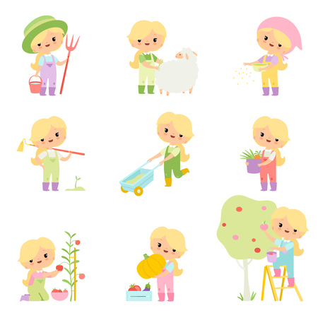 Cute Young Girl in Overalls and Rubber Boots Caring for Aimals and Plants Set, Farmer Girl Cartoon Character Engaged in Agricultural Activities Vector Illustration