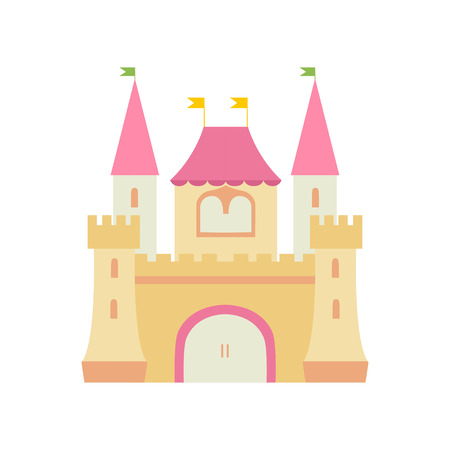 Cute Fairytale Medieval Castle Fortress, Colorful Fantasy Kingdom Cartoon Vector Illustration