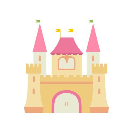 Fortaleza medieval del castillo de cuento de hadas lindo, ilustración colorida del vector de la historieta del reino de la fantasía Ilustración de vector