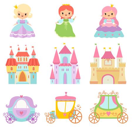 Collection de mignonnes petites princesses, châteaux magiques, voitures de conte de fées Cartoon Vector Illustration