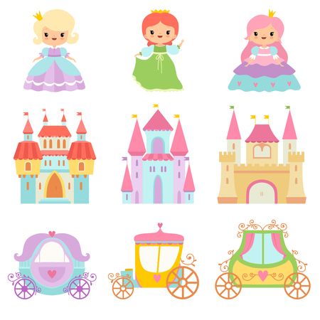 Collection of Cute Little Princesses, Magic Castles, Fairy Tale Carriages Cartoon Vector Illustration