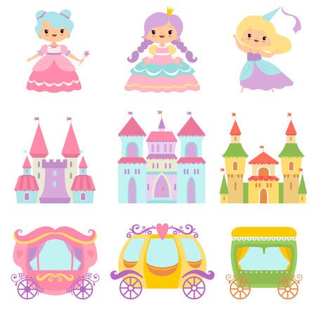 Collection de petites princesses mignonnes, châteaux magiques, voitures de conte de fées, illustration vectorielle de dessin animé de royaumes fantastiques