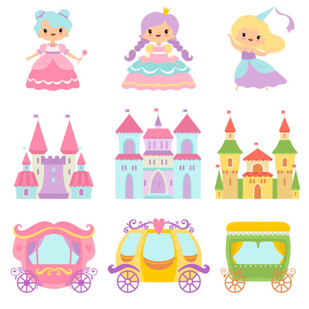 Collection of Cute Little Princesses, Magic Castles, Fairy Tale Carriages, Fantasy Kingdoms Cartoon Vector Illustration