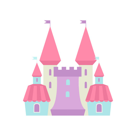 Cute Fairytale Magic Castle Fortress, Colorful Fantasy Kingdom Cartoon Vector Illustration Иллюстрация