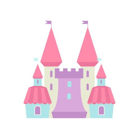 Cute Fairytale Magic Castle Fortress, Colorful Fantasy Kingdom Cartoon Vector Illustration Illustration