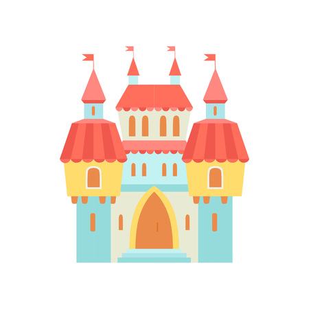 Fairytale Medieval Magic Castle Fortress, Colorful Fantasy Kingdom Cartoon Vector Illustration Иллюстрация