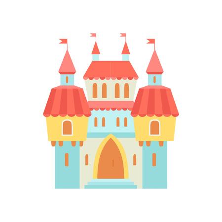 Fairytale Medieval Magic Castle Fortress, Colorful Fantasy Kingdom Cartoon Vector Illustration Illustration