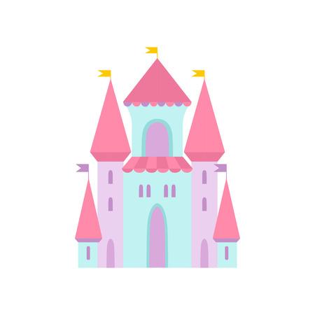 Cute Magic Castle, Fairytale Medieval Fortress, Colorful Fantasy Kingdom Cartoon Vector Illustration