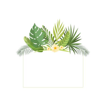 Exotic Tropical Leaves, Banner, Rainforest Foliage Border, Poster, Wedding Invitation, Summer Greeting Card Design Element Vector Illustration on White Background.