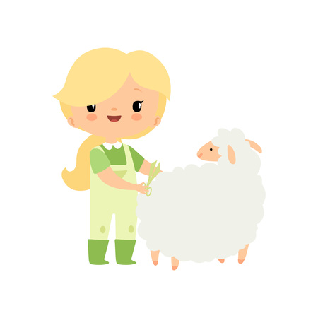Cute Young Girl in Overalls and Rubber Boots Caring for Sheep, Farmer Girl Cartoon Character Vector Illustration on White Background.