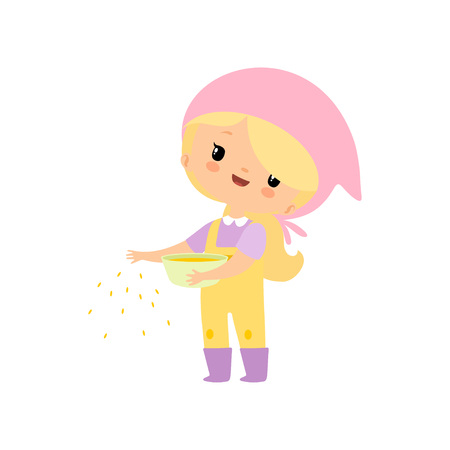 Cute Young Girl in Overalls and Rubber Boots Feeding Poultry with Grain, Farmer Girl Cartoon Character Vector Illustration on White Background. Vettoriali