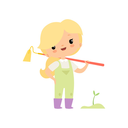 Cute Young Girl in Overalls and Rubber Boots with Hoe, Farmer Girl Cartoon Character Working in Garden Vector Illustration on White Background.