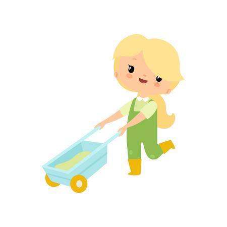 Ragazza carina in tuta e stivali di gomma che spinge la carriola, illustrazione di vettore del personaggio dei cartoni animati della ragazza dell'agricoltore Vettoriali