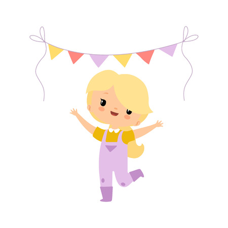 Cute Young Girl in Overalls and Rubber Boots Celebrating with Party Flags, Farmer Girl Cartoon Character at Harvest Festival Vector Illustration on White Background.