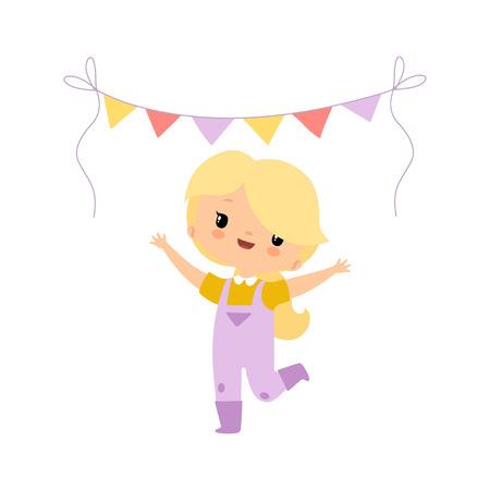 Ragazza sveglia in tuta e stivali di gomma che celebra con le bandiere del partito, personaggio dei cartoni animati della ragazza dell'agricoltore all'illustrazione di vettore di Harvest Festival su priorità bassa bianca.