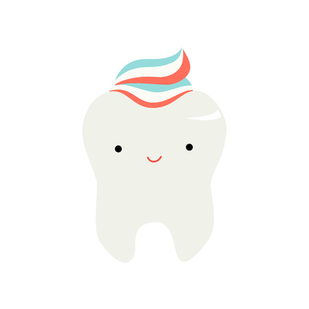 Cute Funny Healthy Tooth Cartoon Character, Children Teeth Care Vector Illustration on White Background.