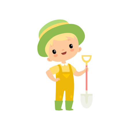 Cute Boy in Overalls, Rubber Boots and Hat with Shovel, Young Farmer Cartoon Character Engaged in Agricultural Activities Vector Illustration