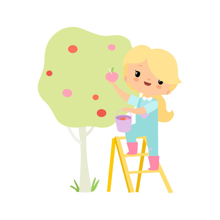Cute Young Girl in Overalls and Rubber Boots Picking Apples in Garden, Farmer Girl Cartoon Character Harvesting Vector Illustration Standard-Bild - 122807813