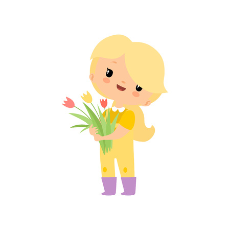 Cute Young Girl in Overalls and Rubber Boots with Bouquet of Tulips, Farmer Girl Cartoon Character Vector Illustration on White Background.