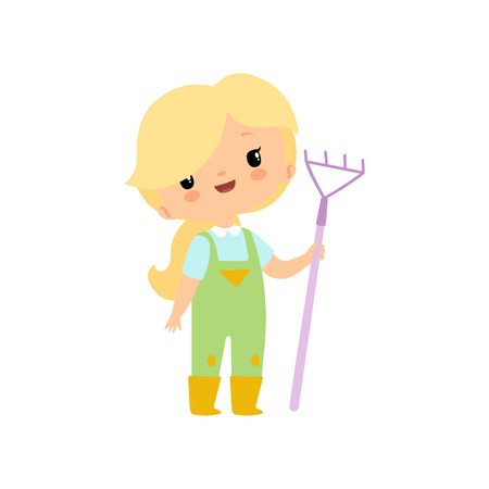 Cute Young Girl in Overalls and Rubber Boots with Rake, Farmer Girl Cartoon Character Vector Illustration on White Background.