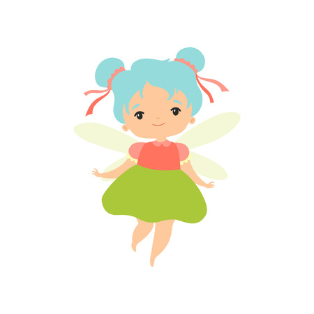 Little Forest Fairy, Lovely Fairy Girl Cartoon Character with Light Blue Hair and Wings Vector Illustration on White Background. Foto de archivo - 122783062