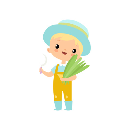 Cute Boy in Overalls, Rubber Boots and Hat with Sickle and Bundle of Grass, Young Farmer Cartoon Character Engaged in Agricultural Activities Vector Illustration on White Background.