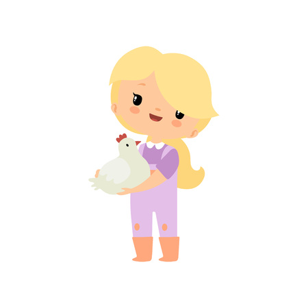 Cute Young Girl in Overalls and Rubber Boots Holding Chicken or Hen, Farmer Girl Cartoon Character Vector Illustration on White Background.