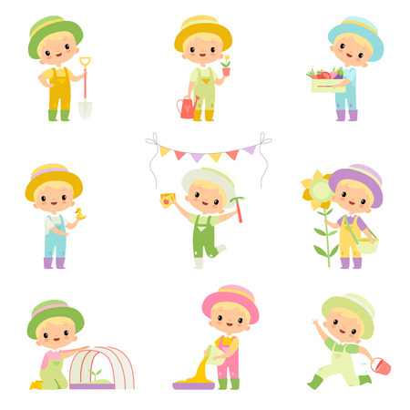 Cute Boy in Overalls and Rubber Boots Engaged in Agricultural Activities Set, Young Farmer Cartoon Character Caring for Plants and Harvesting Vector Illustration on White Background.