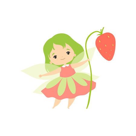 Little Forest Fairy with Wild Strawberry, Lovely Fairy Girl Cartoon Character with Green Hair and Wings Vector Illustration on White Background.