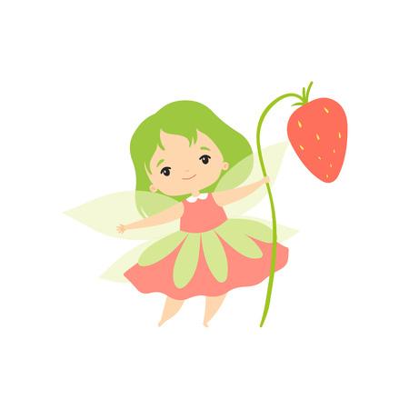 Petite fée de la forêt avec fraise des bois, personnage de dessin animé jolie fille fée aux cheveux verts et ailes Vector Illustration sur fond blanc.