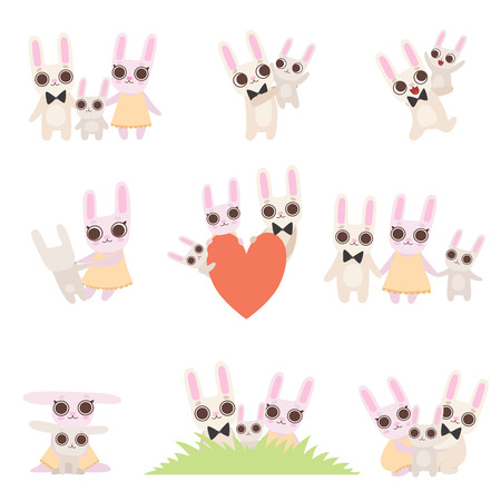 Family of Bunnies Set, Father, Mother and Baby Rabbits Spending Time Together, Cute Cartoon Hares Characters Vector Illustration Çizim